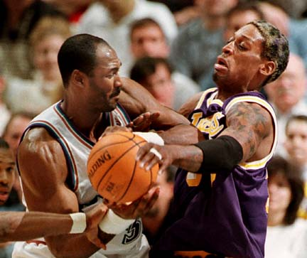 Picture of Dennis Rodman with the Lakers jersey in Lakers ...