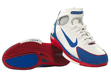 Kobe Bryant basketball shoes picture Nike Air Zoom Huarache 2K4 blue,  white and red