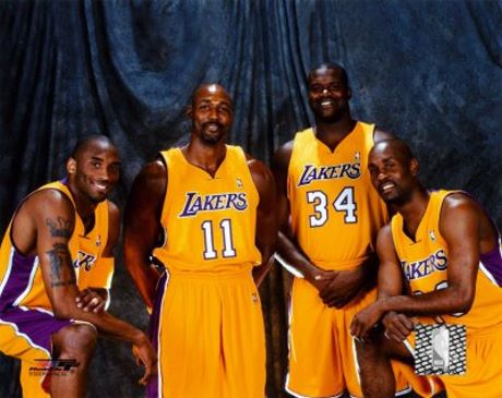 Lakers Players Pictures: 2003-2004 starters Kobe Bryant ...